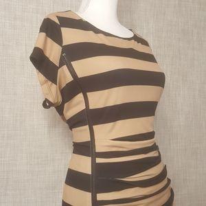 Eloquii Ruched Stripe Dress w/Zipper Detail, NWT